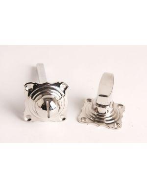 Toilet lock turn knob with excutcheons Bright Nickel 41mm