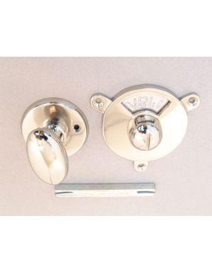 Bathroom lock bright nickel oval shaped knob
