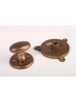 Bathroom lock bronze antique with small oval shaped knob