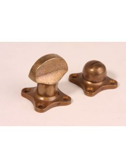 Toilet lock turn knob with excutcheons Brass Antique 38mm